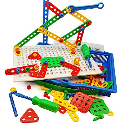 Skoolzy Educational Preschool Building Toys - 97pc Kids Construction Engineering Tool Set | Learning Tinker STEM Toys for Boys & Girls Nuts & Bolts Blocks for Kids: Toys & Games