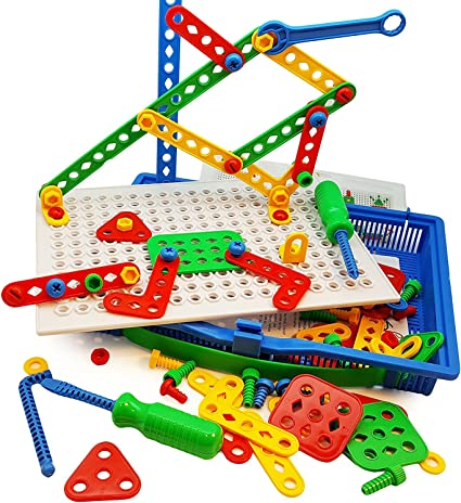 Amazon.com: Skoolzy Educational Preschool Building Toys. 97pc Kids  Construction Engineering Tool Set. Learning Tinker STEM Toys for Boys &  Girls Nuts & Bolts Blocks for Kids: Toys & Games