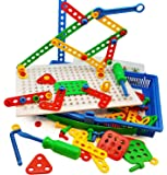 Skoolzy Educational Preschool Building Toys - 97pc Kids Construction Engineering Tool Set | Learning Tinker STEM Toys for Boys & Girls Nuts & Bolts Blocks for Kids