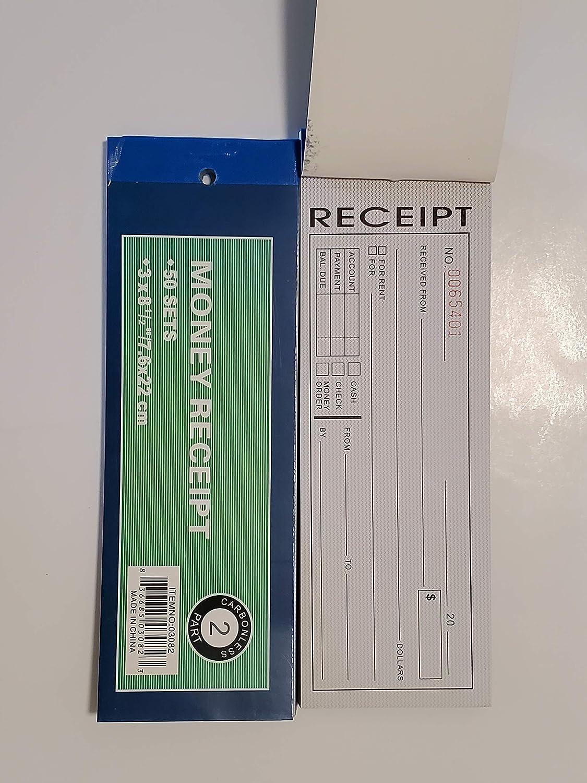 Cotton Fly 10 Pack Rent Receipt Book Sales Receipt Invoice Book Carbonless Copy Duplicate 2 Parts 50 Sets 8.5 X 2.75