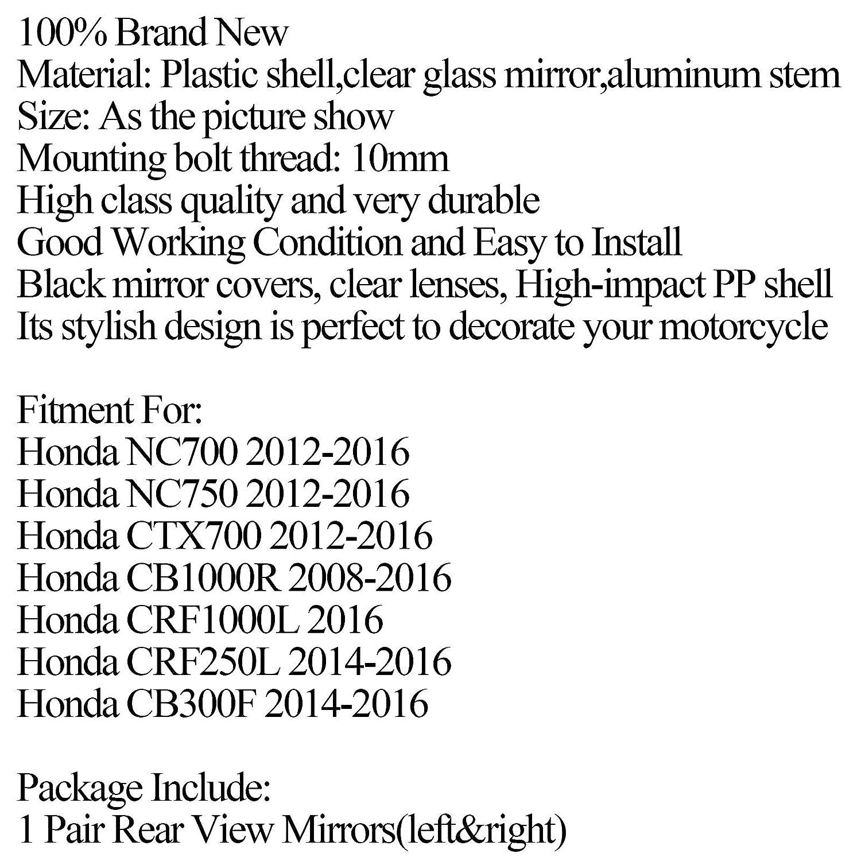 espejo retrovisor lateral de 10 mm para Hon-da NC700//NC750 12-16 CB1000R CRF1000L 2016 Artudatech Espejo retrovisor para motocicleta