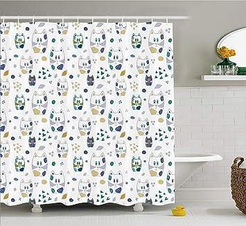Kids Decor cortina de ducha por Ambesonne, lindo gato infantil figuras de gato con corazones y ...