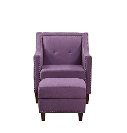 Incredible Nhi Express 92013 16Pl Patrick Accent Chair With Ottoman Purple Gamerscity Chair Design For Home Gamerscityorg