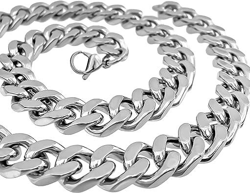 XXL Halskette Edelstahl Herren Damen Kette Armband Panzerkette silber 17-80 cm
