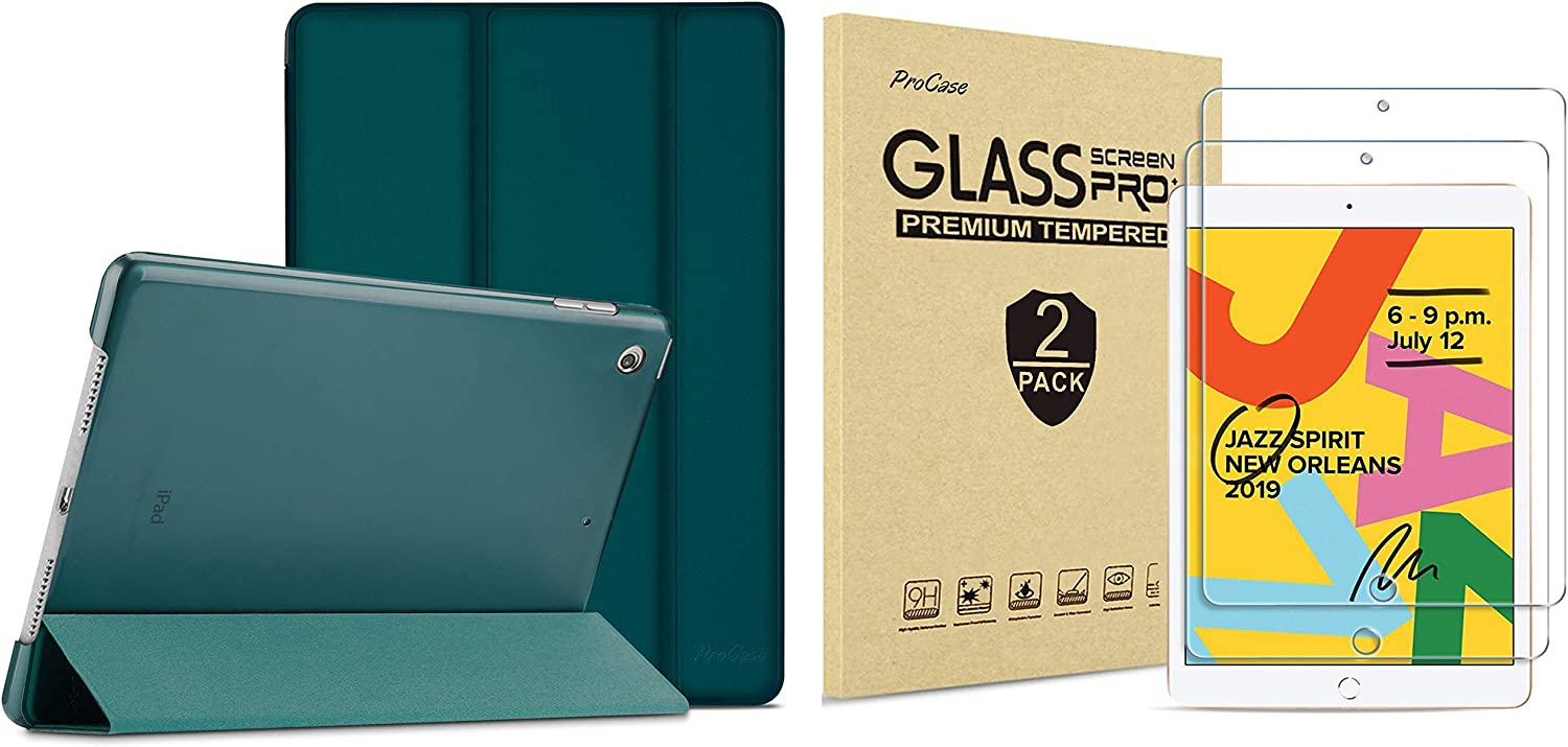 ProCase iPad 10.2 Case 2019 iPad 7th Generation Case (Emerald) Bundle with 2 Pack iPad 10.2 7th Gen Tempered Glass Screen Protector