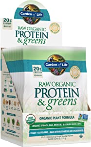 Garden of Life Raw Organic Protein & Greens Lightly Sweet - 20 Servings (10 Packets), Vegan Protein Powder for Women and Men with Juiced Greens, 20g Plant Protein, Probiotics, Enzymes, Low Carb Shake