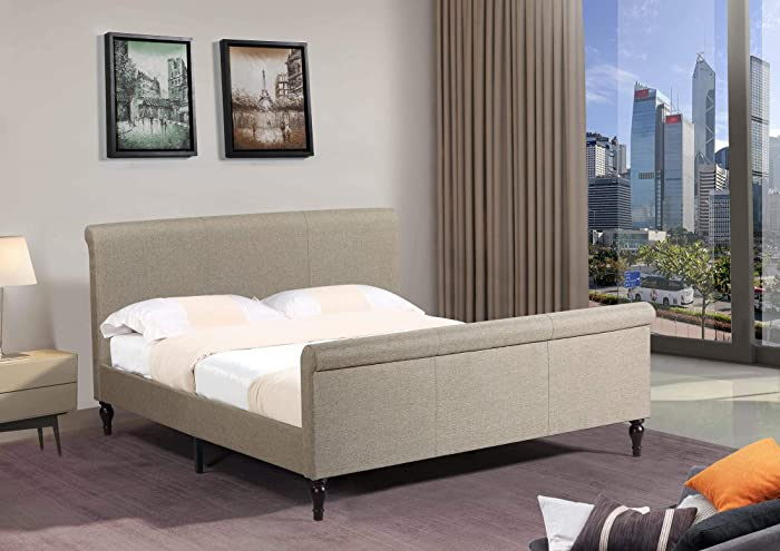 """Home Life Premiere Classics Cloth Light Brown Linen 45"""" Tall Headboard Sleigh Platform Bed with Slats King - Complete Bed 5 Year Warranty Included 017"""