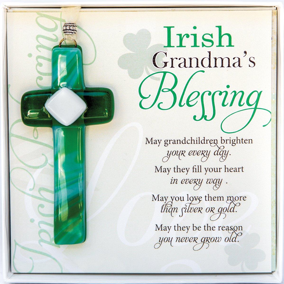 Irish Grandma Gift Grandmother Blessing With Handmade In USA Glass Cross New Birthday