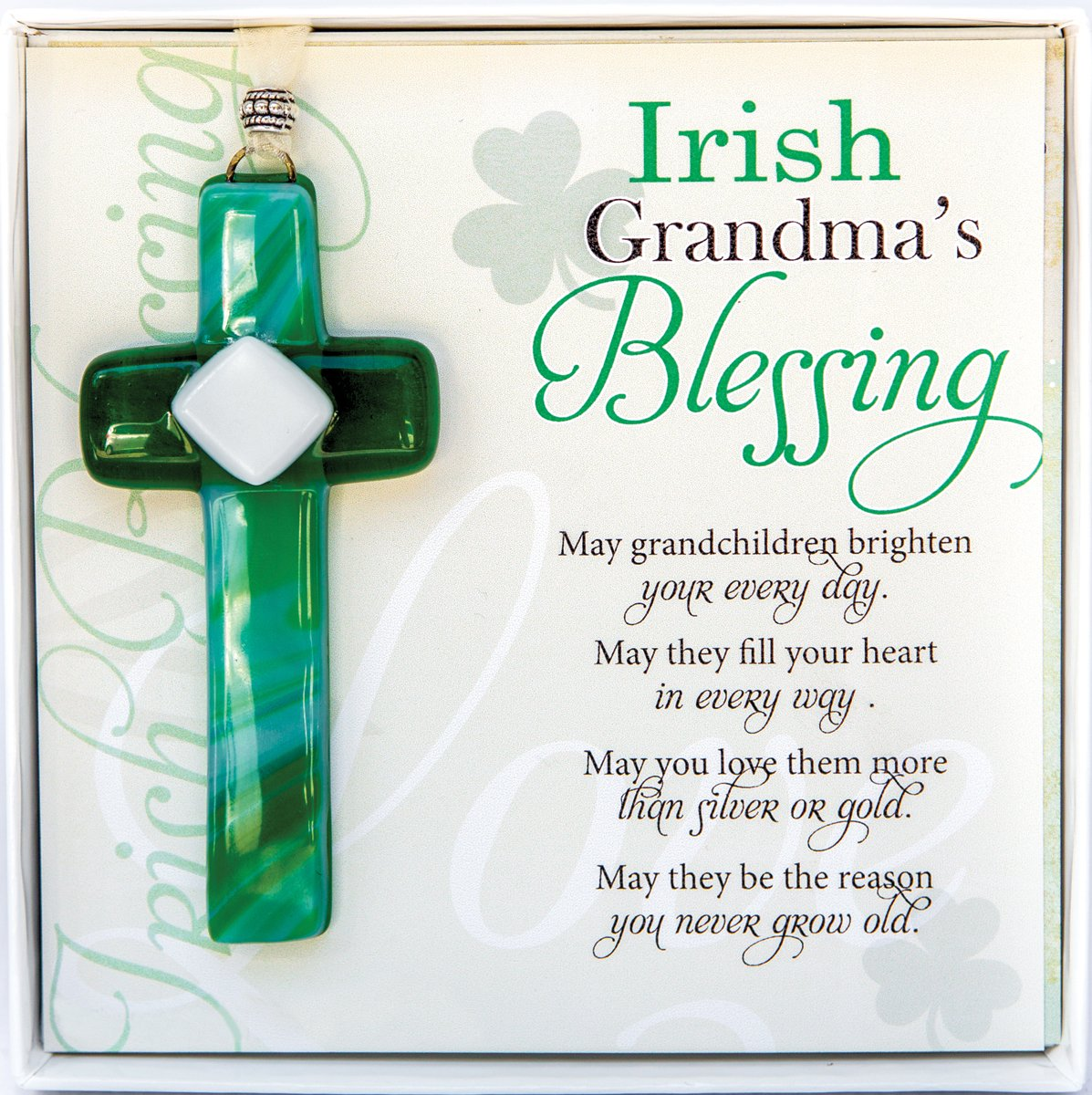 The Grandparent Gift Irish Grandma Gift Grandma Blessing Handmade Glass Cross