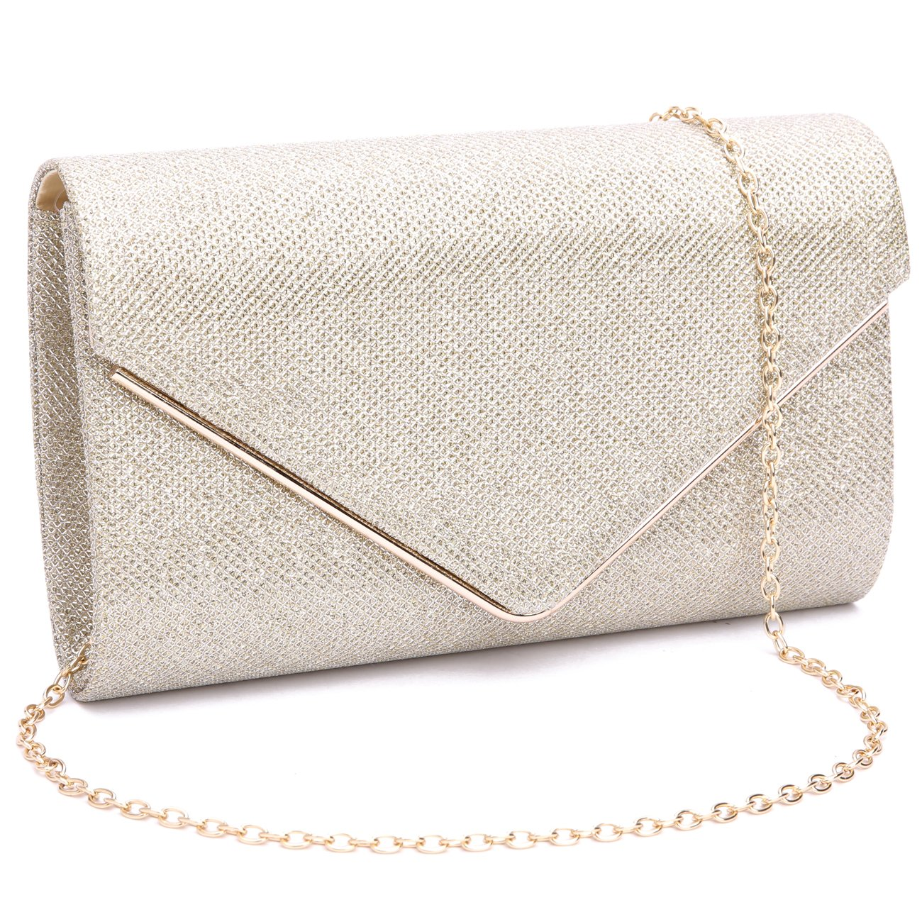 GESU Womens Shining Envelope Clutch Purses Evening Bag Handbags For Wedding and Party.(Gold-1)
