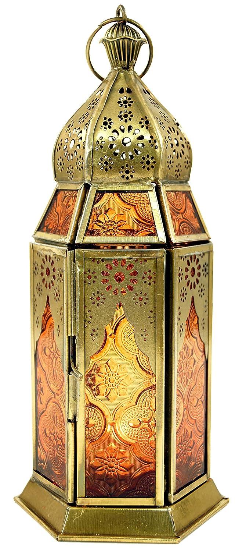 22x8,5x8,5 cm Orientalische Laternen Orange Farbe: Orange Guru-Shop Orientalische Messing//Glas Laterne in Marrokanischem Design Windlicht