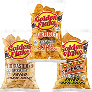 product image for Golden Flake Fried Pork Skins: Old Fashioned, Barbecue, Sweet Heat Barbecue Variety 3-Pack