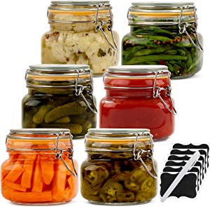 Galashield Glass Jars with Lids Food Storage Jars with Airtight Lids Leak Proof Glass Canisters Kitchen Jars [Set of 6 - 17 oz]