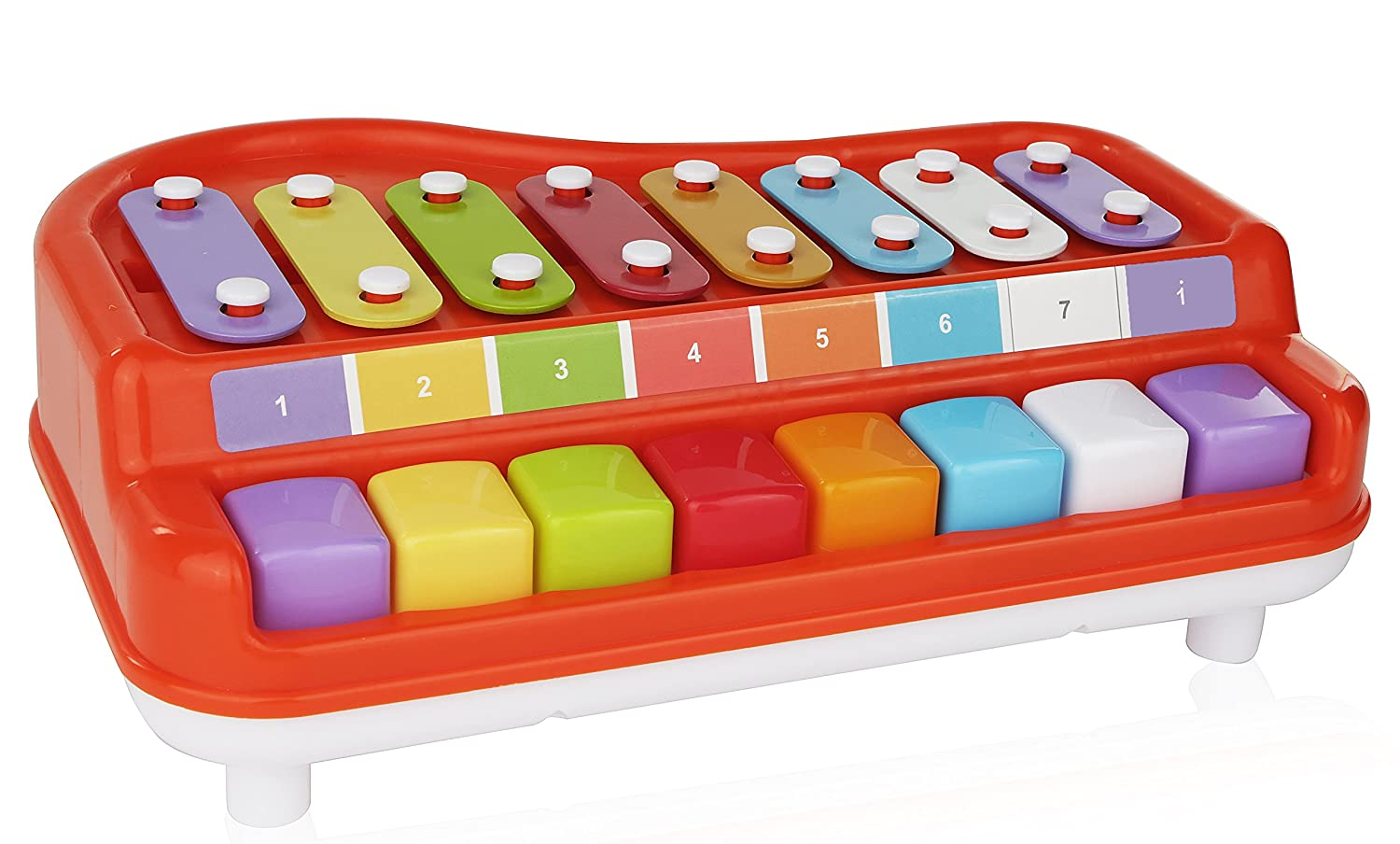 2 In 1 Xylophone for Kids, For your Mini Musician / Piano / Casio Musical Toy, Bright Multi-Colored Keys, Instrument for Babies, Toddlers and Preschoolers, With Music Cards Songbook With Music Cards Songbook Number 1 in Gadgets