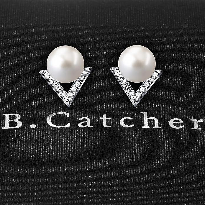 B.Catcher Ladies Earrings Stud 925 Sterling Silver Cultured 6mm Freshwater Pearl Studs Earring DIl6EC