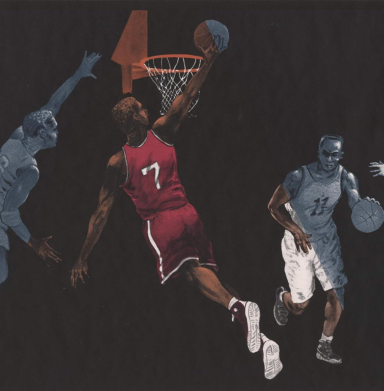 Basketball Players Black Sports Wallpaper Border Retro Design