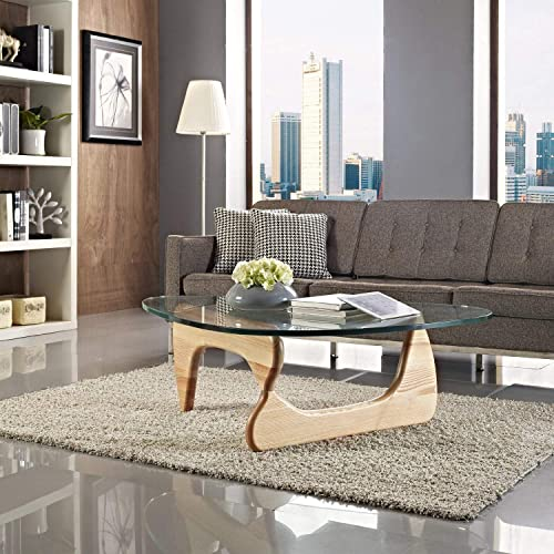 1inchHome Triangle Coffee Table, Glass Top End Table Modern Cocktail Wood Table with for Living Room, Lounge, Patio, Balcony, Study Wood