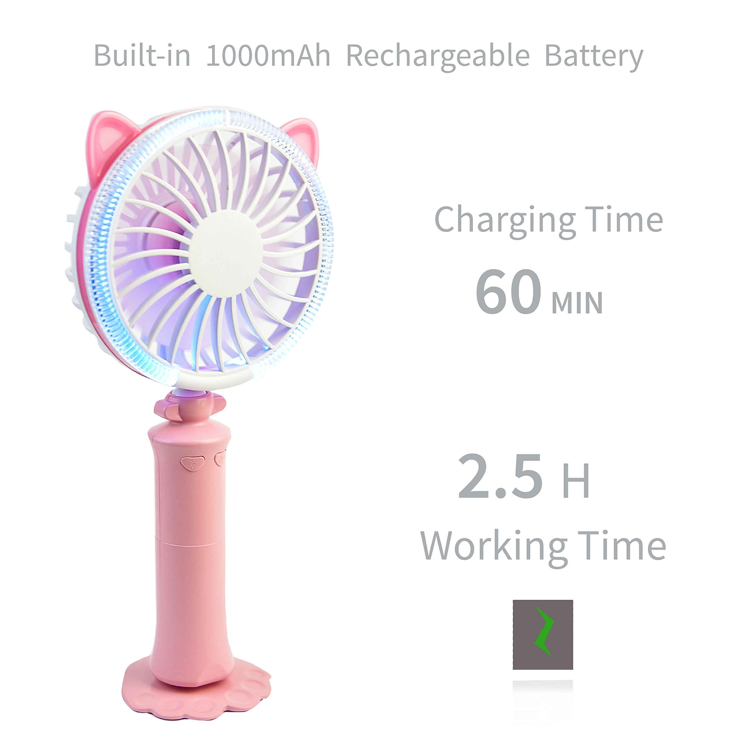 Tragbarer Mini Ventilator mit Batterie Mobil Leise Handventilator,mit LED Mehrfarbige Änderungen, USB aufladbare akku (rosa)