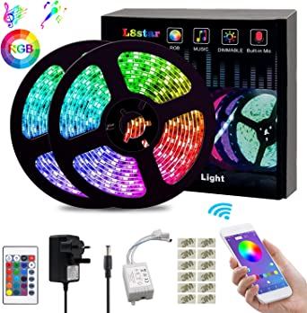 L8star Led Strips Lights Color Changing Light Strip 10m 32 8ft Smd 5050 Rgb Rope Lights With Bluetooth Controller Apply For Tv Bedroom Party And Home Decoration 32 8ft Amazon Co Uk Lighting