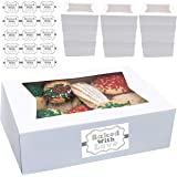 "Cookie Boxes with Window 8"" x 5.75"" x 2.5"" Cake Pastry Bakery Box 20 pk Baked with Love Sticker Labels"