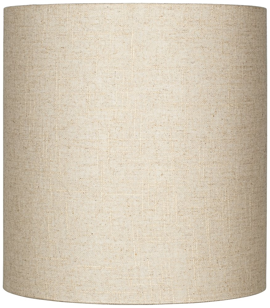Oatmeal Tall Linen Drum Shade 14x14x15 (Spider)