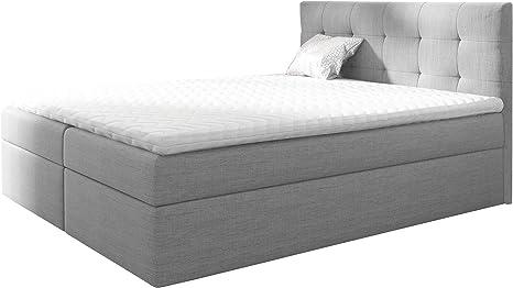 Cama con somier Legato II, cama tapizada con 2 cajones, cama doble con somier y colchón, cama con cabecero, selección de colores, estructura de cama ...