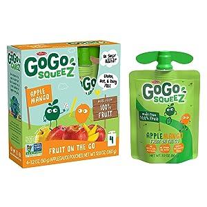 GoGo squeeZ Applesauce, Apple Mango, 3.2 Ounce (48 Pouches), Gluten Free, Vegan Friendly, Unsweetened Applesauce, Recloseable, BPA Free Pouches