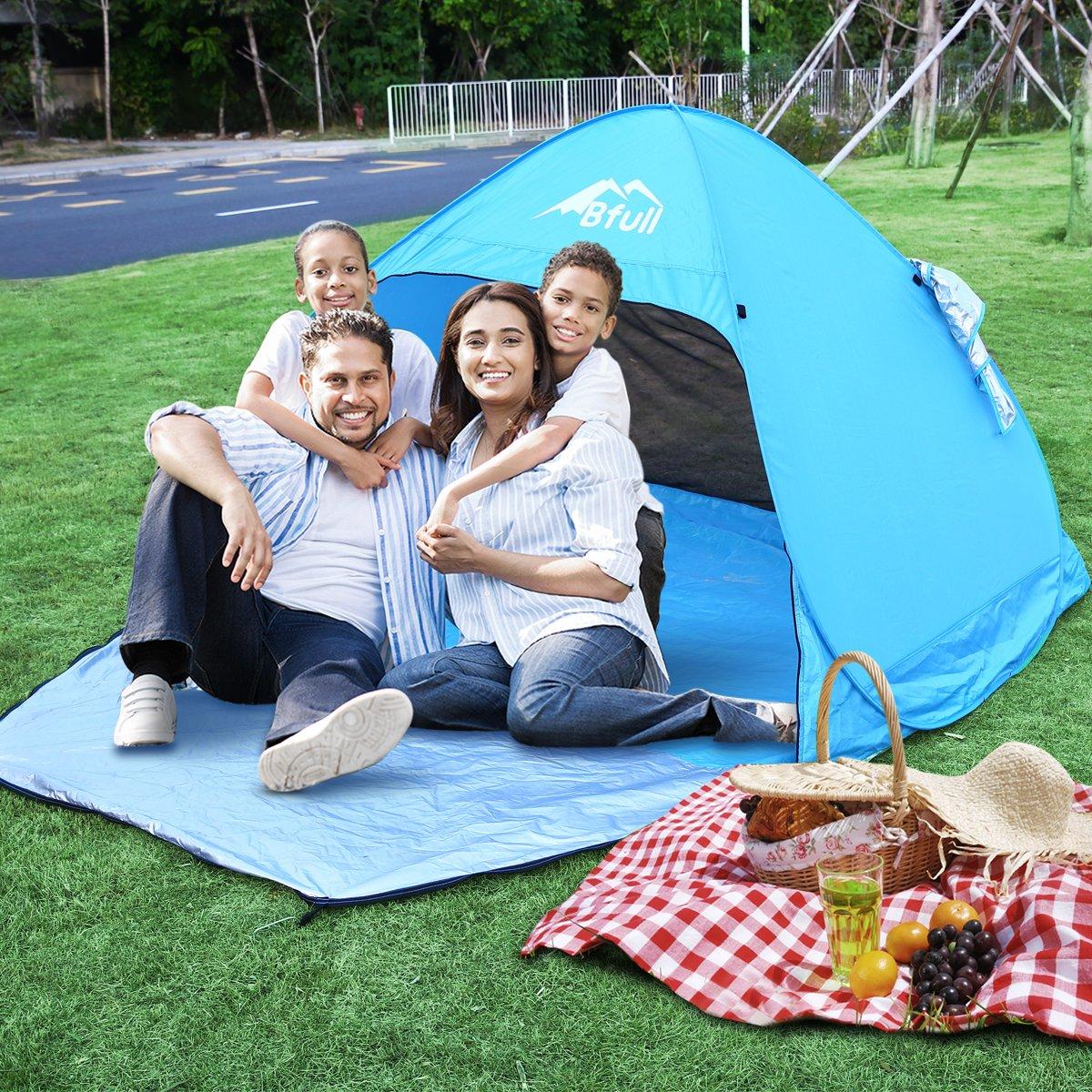Bfull Pop Up Tente de plage aotomatique soleil shelter avec protection anti-UV UPF 50 + Protection solaire pour extérieur herbe Plage Garden Party Camp pique-nique