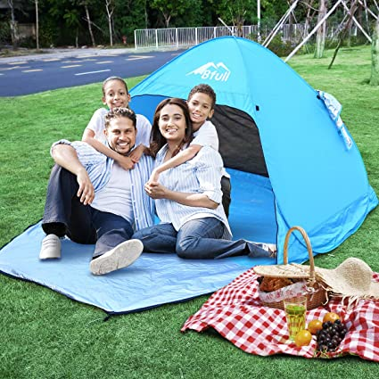 BFULL Pop Up Beach Tent with A Closable Door for 1-3 Man Automatic Sun Tents Anti UV for Beach Garden C&ing Fishing Picnic Amazon.co.uk Sports u0026 ...  sc 1 st  Amazon UK & BFULL Pop Up Beach Tent with A Closable Door for 1-3 Man Automatic ...