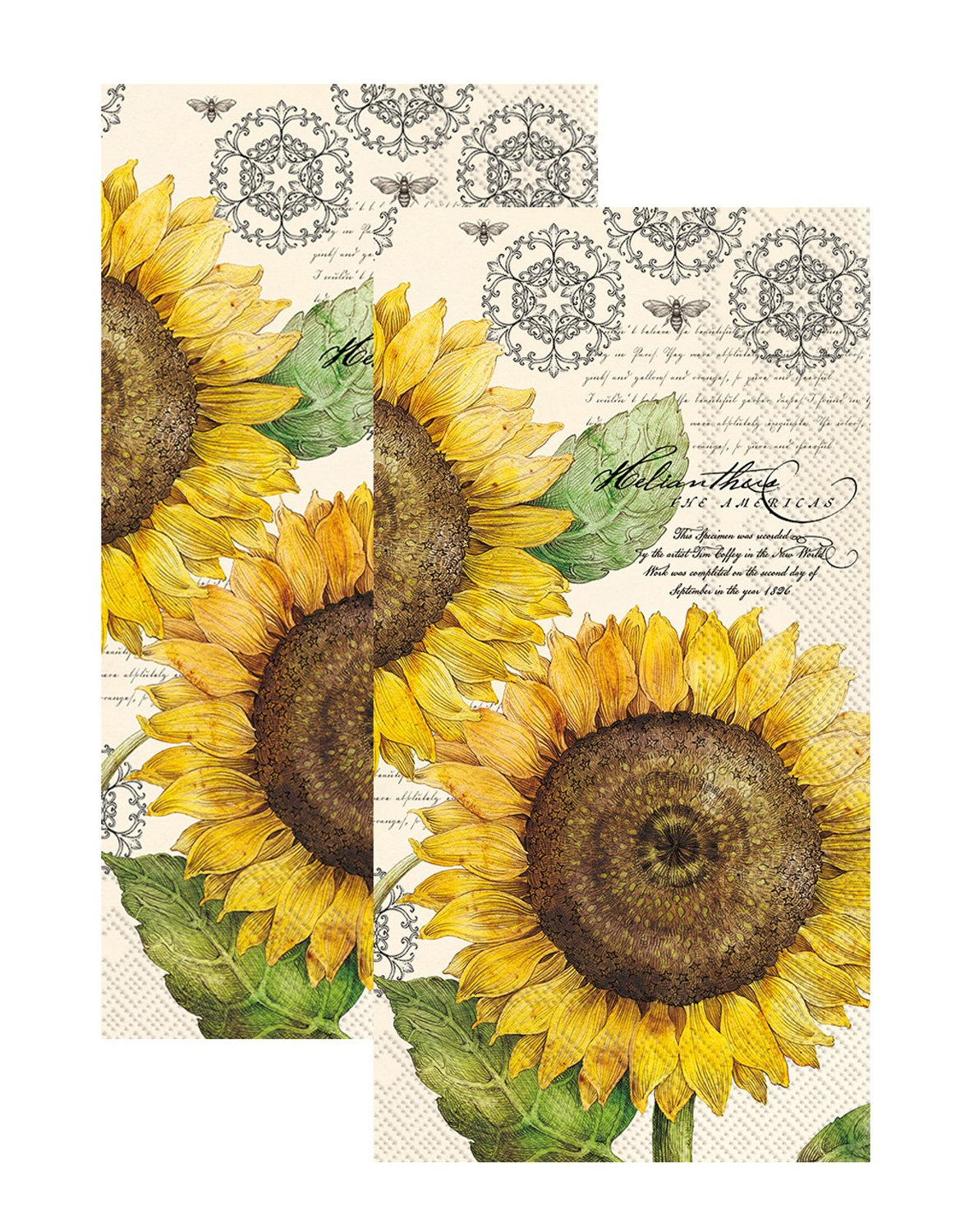 Ideal Home Range 3-Ply Paper Botanical Sunflower, 16 Count Guest Towel Napkins, Cream Set of 2