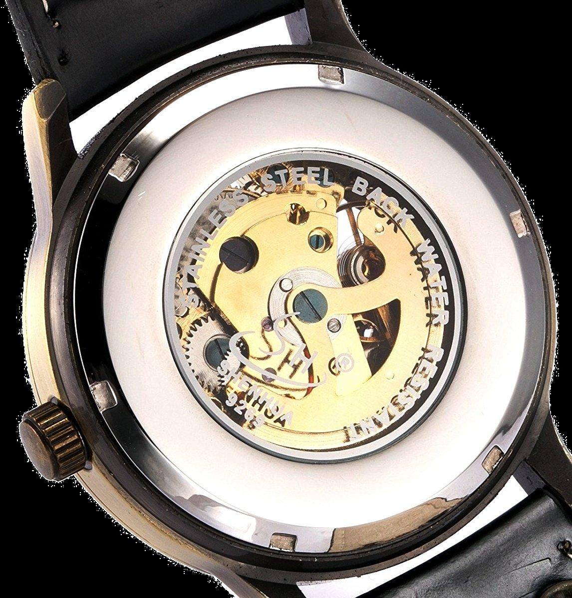 Mens Steampunk Skeleton Case Automatic Mechanical Self-Winding Leather Sport Wrist Watch 5