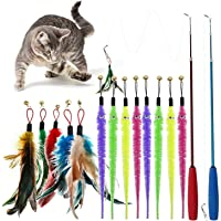 ALTcompluser Cat toys,Feather Teaser Cat Toys 2 Retractable Cat Stick Toys and 12 Replacement Push-pull Toys cat toys…