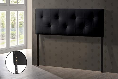 Baxton Studio Wholesale Interiors Dalini Modern and Contemporary Faux Leather Headboard with Faux Crystal Buttons, King, Black