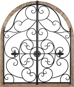 Arched Wood and Iron Wall Decor 30x1x35
