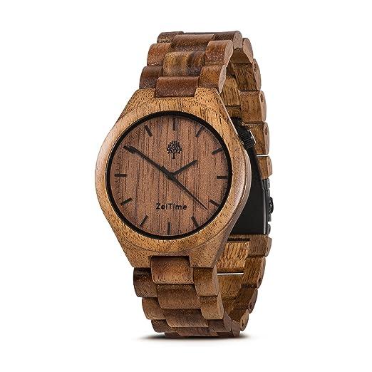 zeitime Reloj de madera auténtica madera de acacia | Don Alpha | puede Caja de Regalo