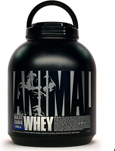 Universal Nutrition Animal Whey Isolate Loaded Whey Protein Powder Supplement, Vanilla, 4 Pound