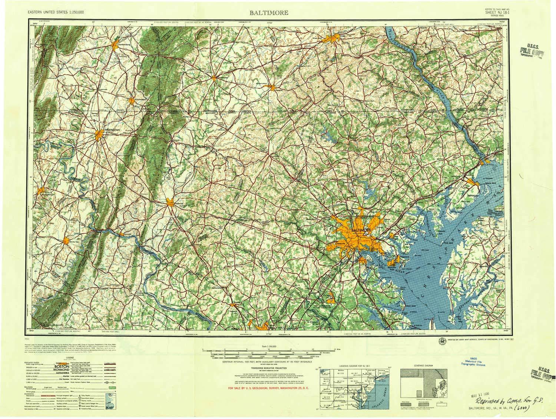 Amazon Com Yellowmaps Baltimore Md Topo Map 1 250000 Scale 1 X 2