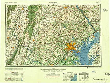 Amazon.com : YellowMaps Baltimore MD topo map, 1:250000 Scale, 1 X 2 ...