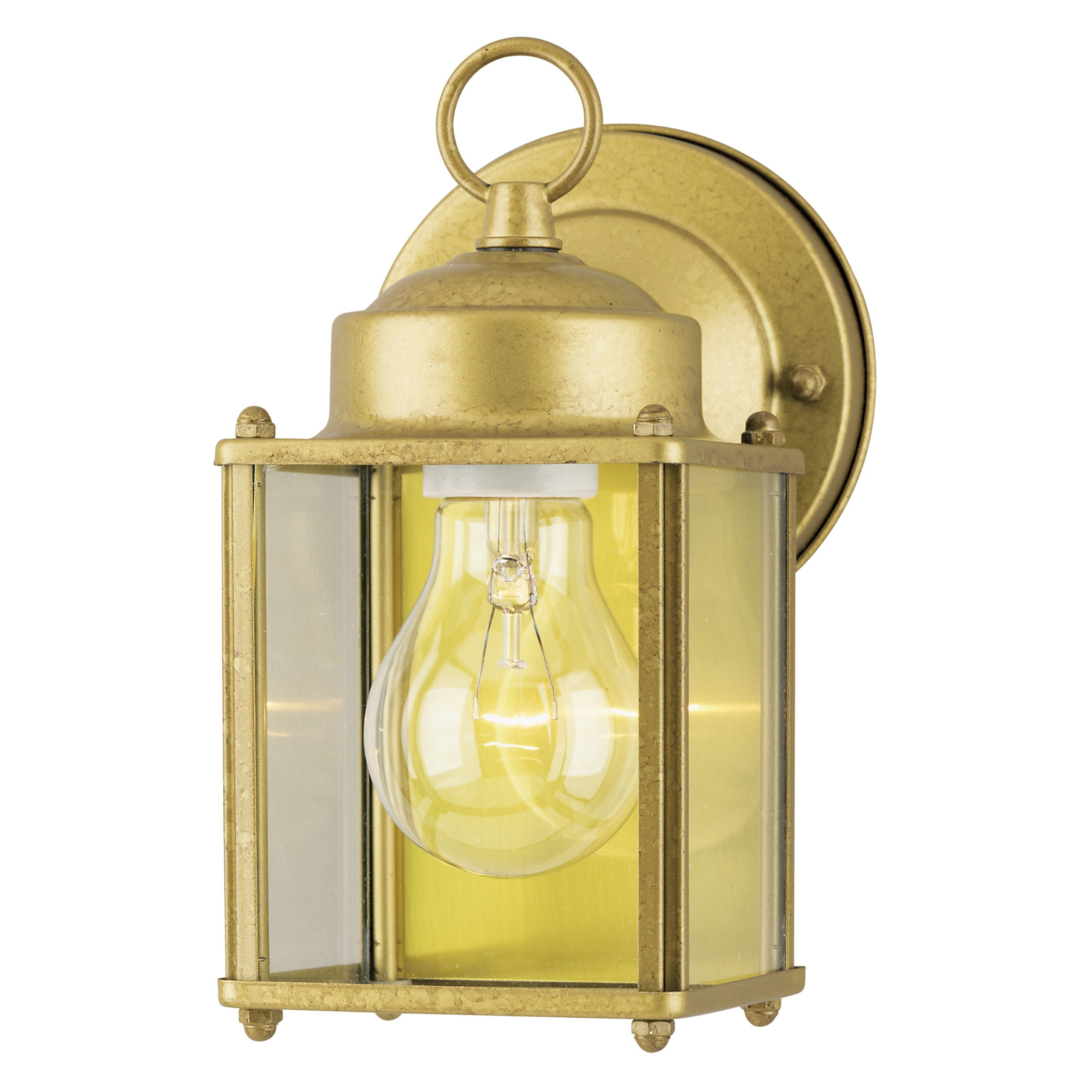 Westinghouse 6693800 One-Light Exterior Wall Lantern, Goldenrod Finish on Steel with Clear Glass Panels