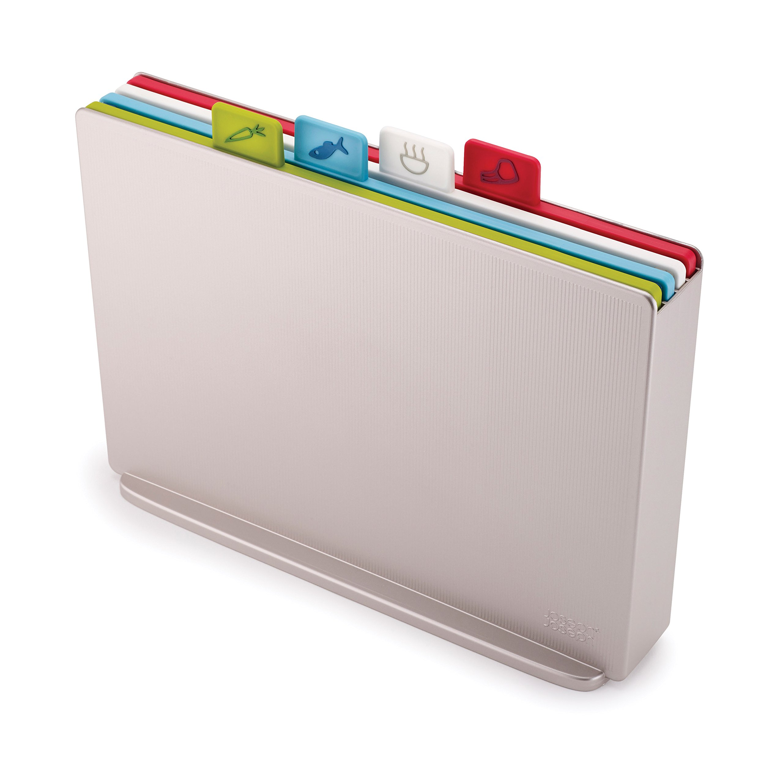 Joseph Joseph 60134 Index Plastic Cutting Board Set with Storage Case Color-Coded Dishwasher-Safe Non-Slip, Large, Silver by Joseph Joseph