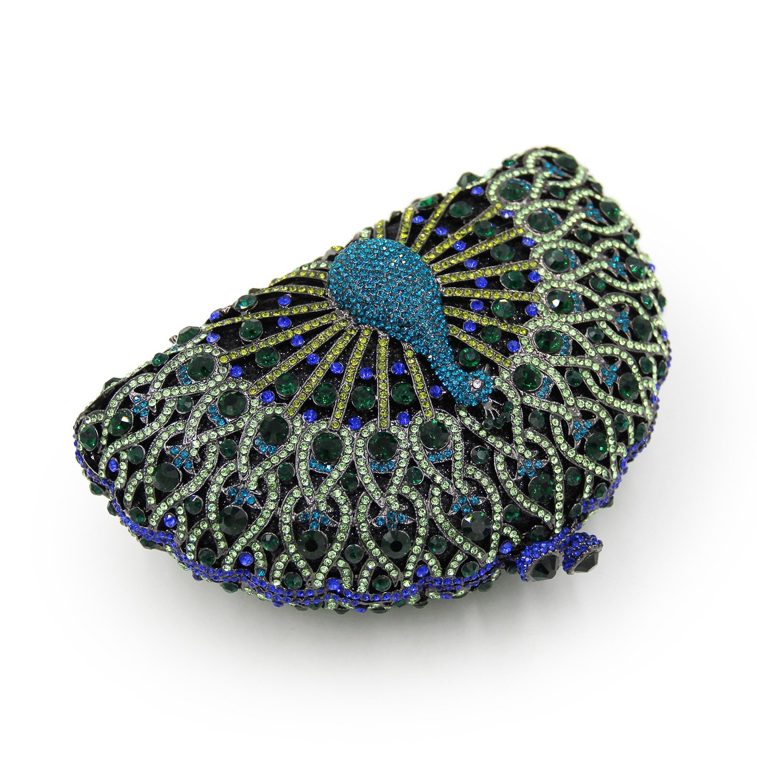 Amazon.com: BeautyWJY Luxury Crystal Clutches For Women Peacock Clutch Evening Bag Blue: Clothing