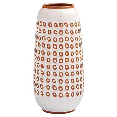 Stone & Beam Modern Ceramic Spotted Decor Planter Pot - 11 Inch, White and Terra Cotta