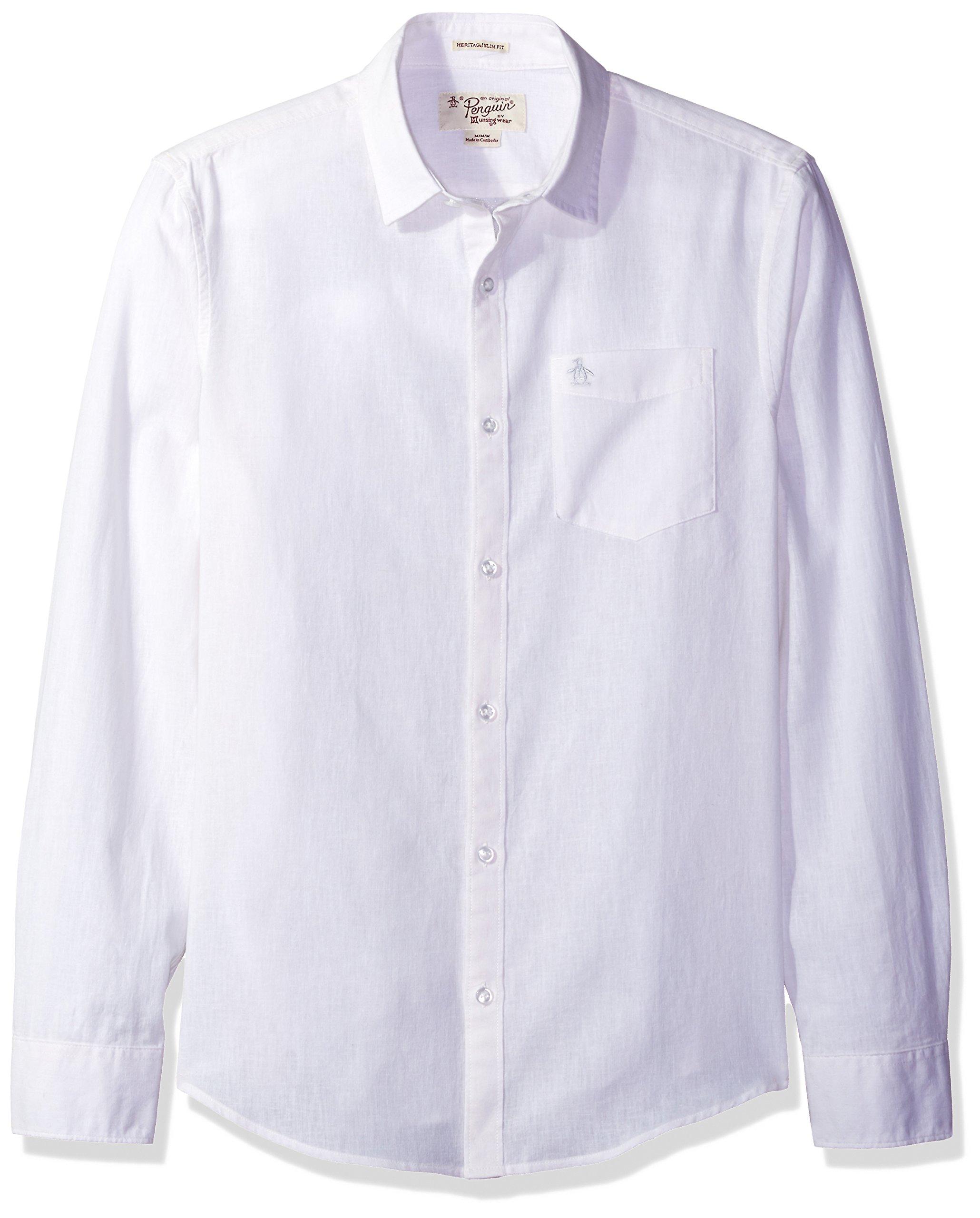 Original Penguin Men's Long Sleeve Cotton Linen Chm, Bright White, XL
