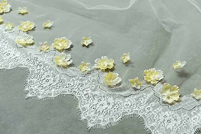 Newdeve 3.5M 1T White Ivory Cathedral Bridal Veils with Yellow Flowers