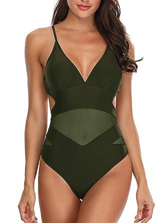 3e79f74b9dd Holipick Women One Piece Swimsuits High Waisted V-Neckline Mesh Ruched  Cutout Swimwear Army Green