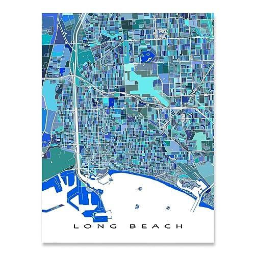Amazon.com: Long Beach Map Art Print, California USA, Wall Artwork ...