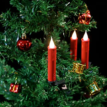 Amazon.com: Christmas Tree Taper Candles with 3D Flame with Remote ...