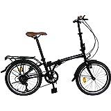 Ecosmo 20TF01BL Vélo urbain pliant 50,8 cm, 6 vitesses