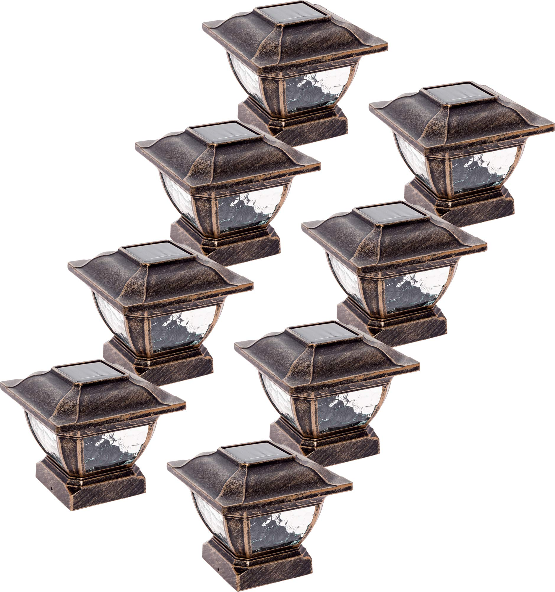 Paradise GL28998BZ Solar Cast Aluminum LED Post Cap Light for 4x4 Wood Posts (Bronze, 8 Pack)