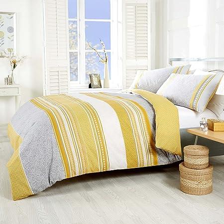 NCS Havana Paisley Pattern Abstract Stripe Bright Bold Linen Duvet Bedding  Quilt Cover Set (Ochre Yellow Orange Grey, Single)
